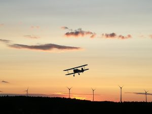 Boeing Stearman in Abenddämmerung